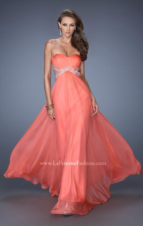 Picture of: Long Strapless Chiffon Prom Gown with Beaded Waist in Orange, Style: 19382, Main Picture