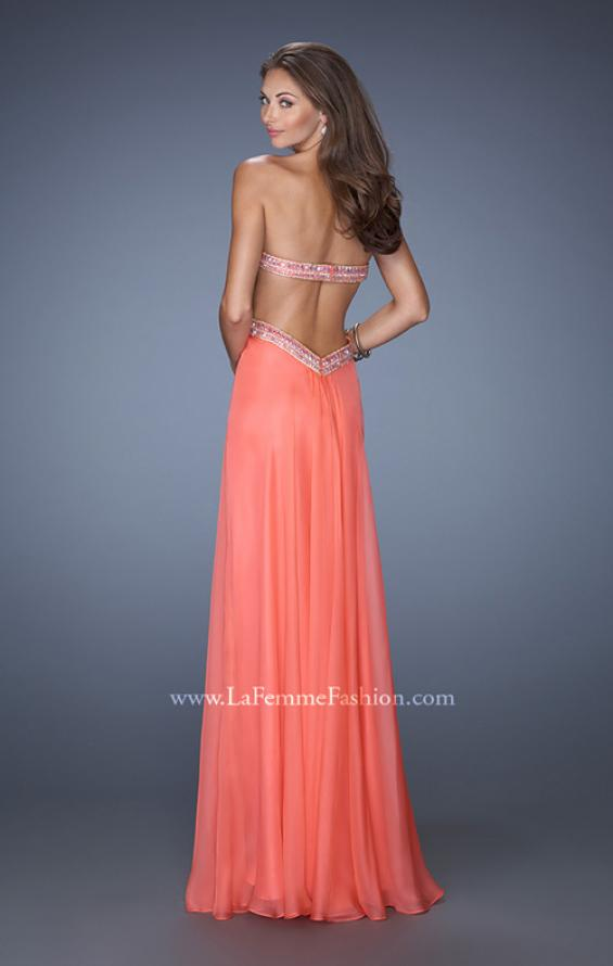 Picture of: Long Strapless Chiffon Prom Gown with Beaded Waist in Orange, Style: 19382, Back Picture