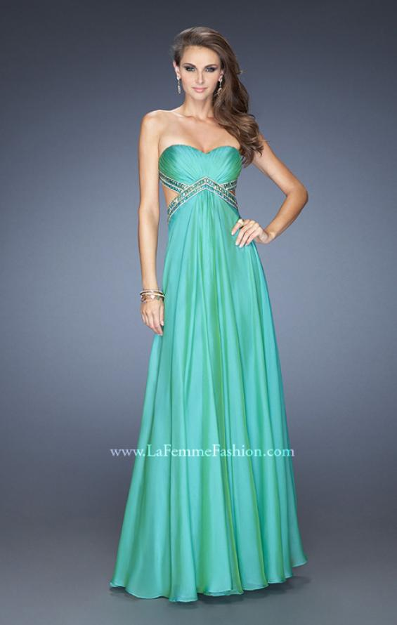 Picture of: Long Strapless Chiffon Prom Gown with Beaded Waist in Green, Style: 19382, Detail Picture 1