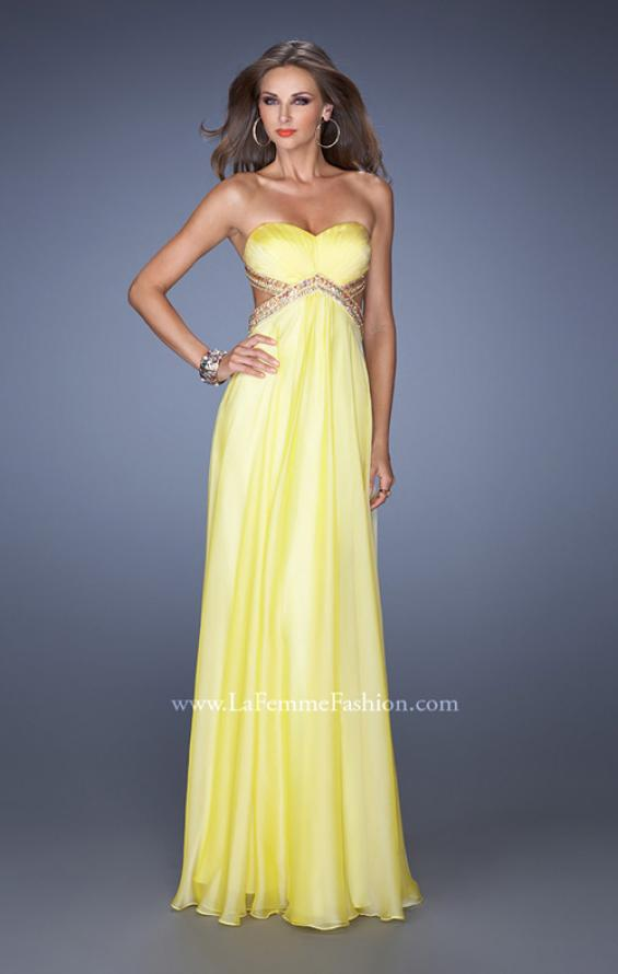 Picture of: Long Strapless Chiffon Prom Gown with Beaded Waist in Yellow, Style: 19382, Detail Picture 2