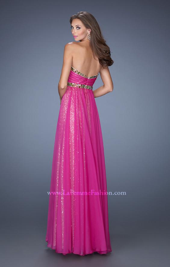 Picture of: Long Strapless Sequin Prom Dress with Chiffon Overlay, Style: 19388, Back Picture
