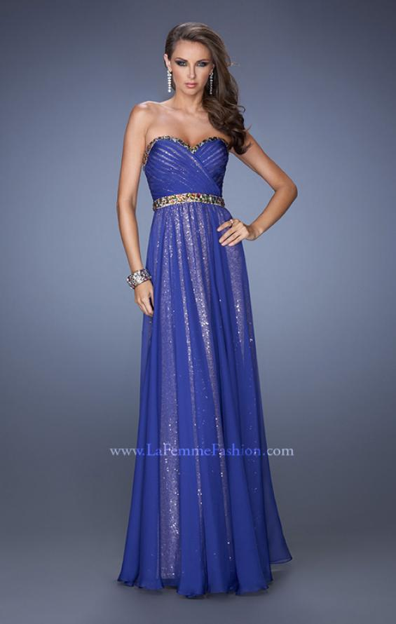 Picture of: Long Strapless Sequin Prom Dress with Chiffon Overlay, Style: 19388, Detail Picture 1