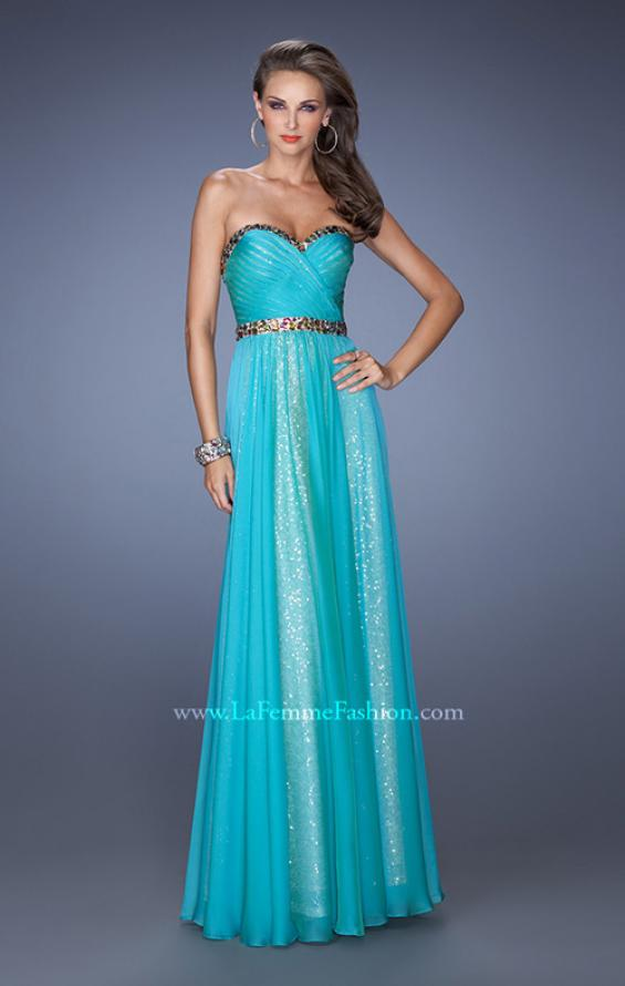 Picture of: Long Strapless Sequin Prom Dress with Chiffon Overlay, Style: 19388, Detail Picture 2