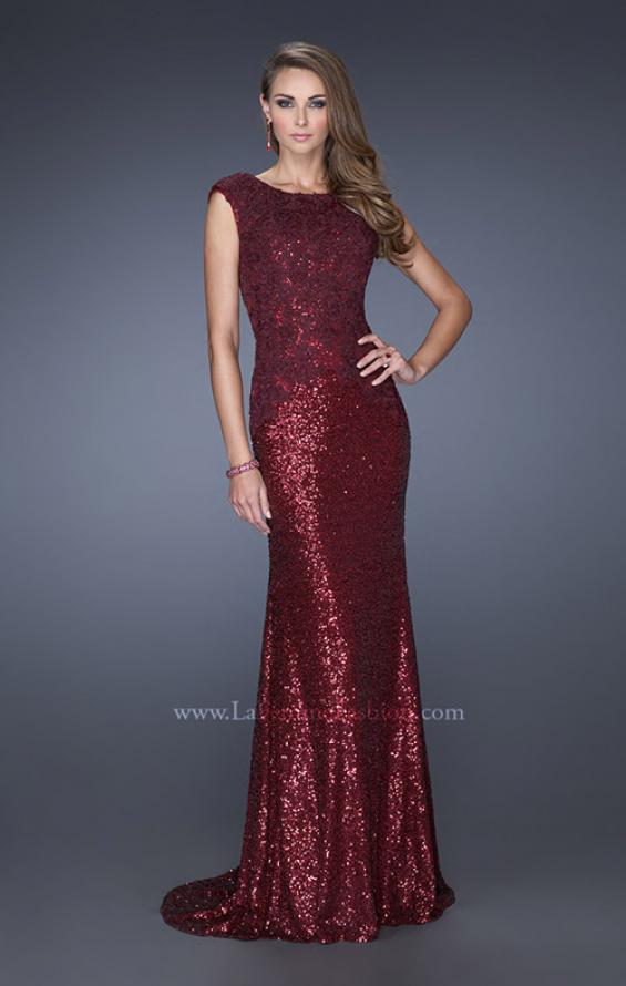 Picture of: Long Sequin Prom Dress with Cap Sleeves in Red, Style: 19389, Main Picture