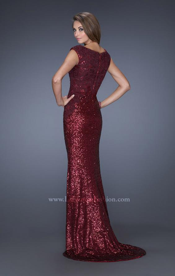 Picture of: Long Sequin Prom Dress with Cap Sleeves, Style: 19389, Back Picture