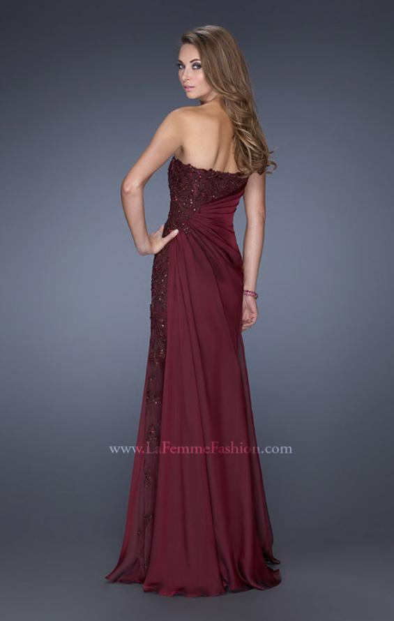 Picture of: Long Strapless Prom Dress with an Embellished Side Panel , Style: 19393, Back Picture