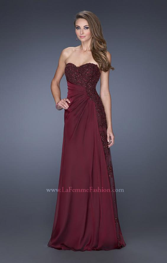 Picture of: Long Strapless Prom Dress with an Embellished Side Panel , Style: 19393, Detail Picture 1