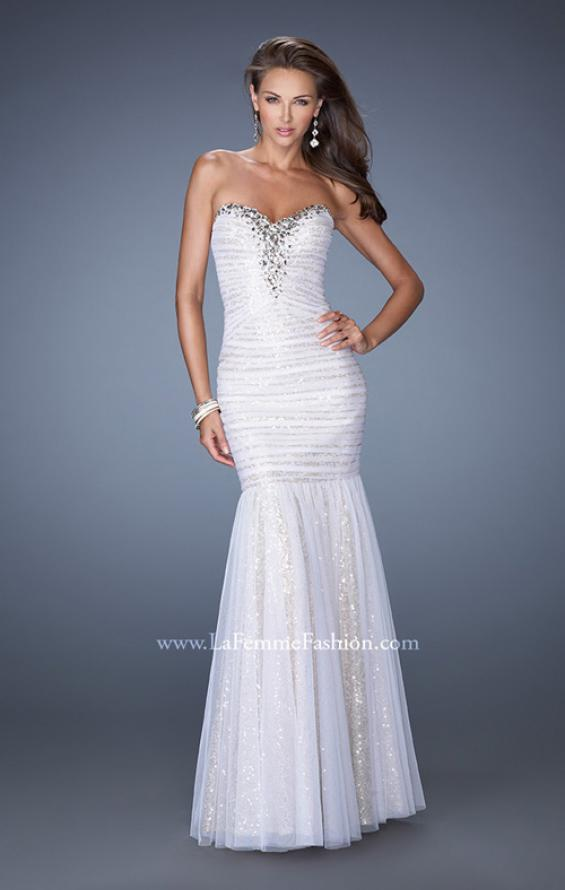 Picture of: Strapless Ruched Mermaid Prom Gown with Sequin Underlay in White, Style: 19394, Main Picture