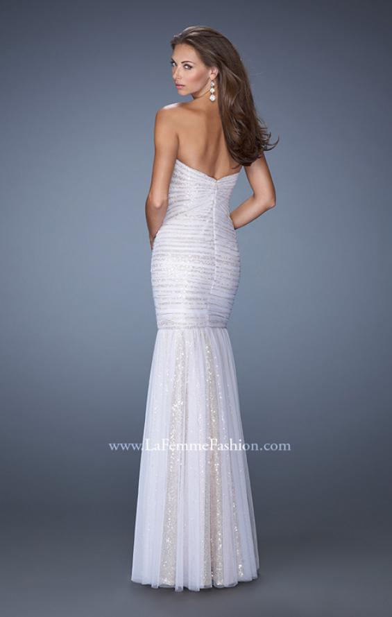 Picture of: Strapless Ruched Mermaid Prom Gown with Sequin Underlay in White, Style: 19394, Back Picture