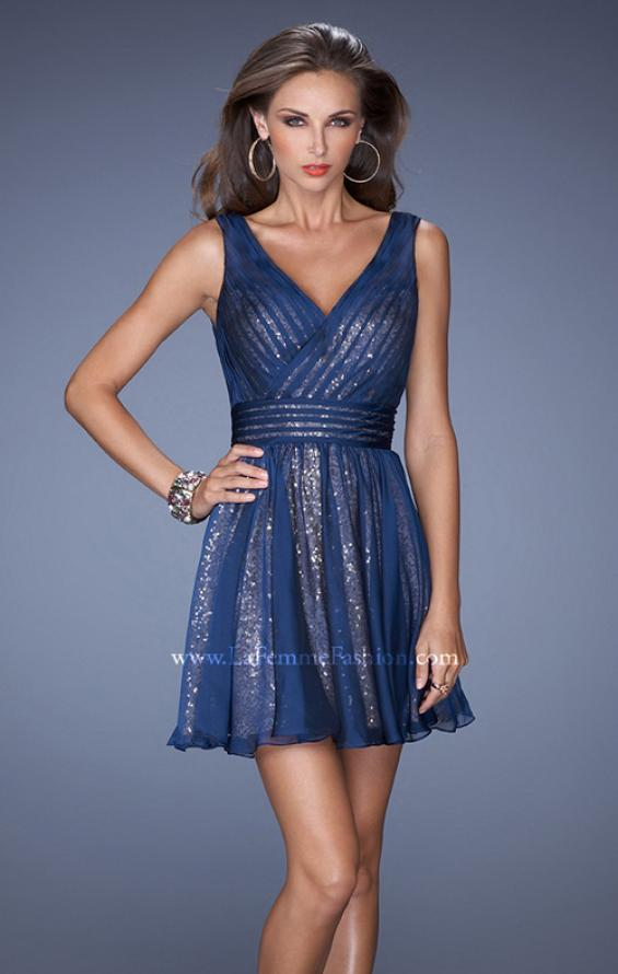 Picture of: Short Sequin Prom Dress with Chiffon Overlay in Blue, Style: 19403, Detail Picture 1