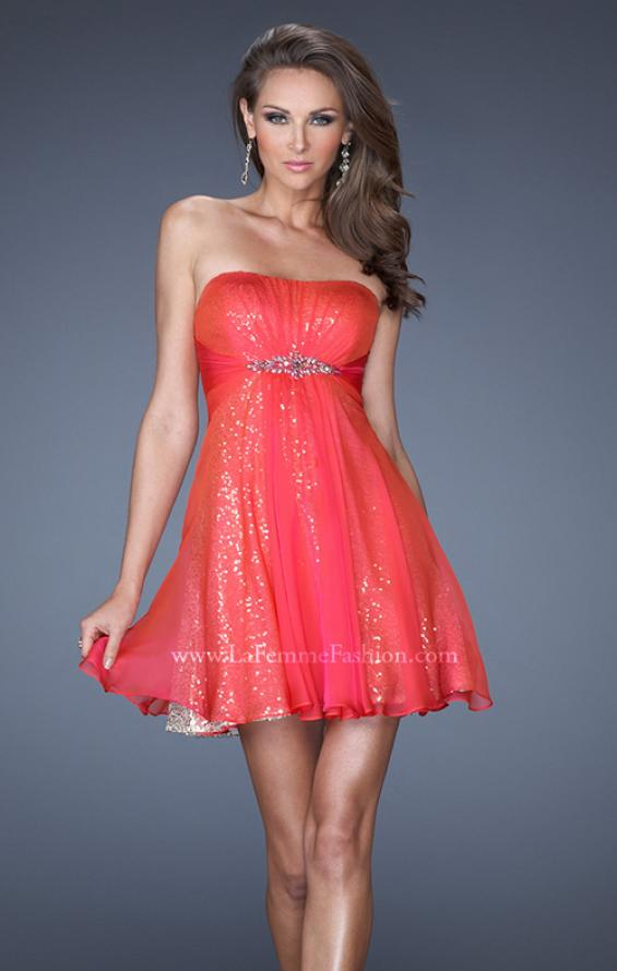 Picture of: Strapless Short Sequin Prom Dress with Chiffon Overlay, Style: 19415, Main Picture