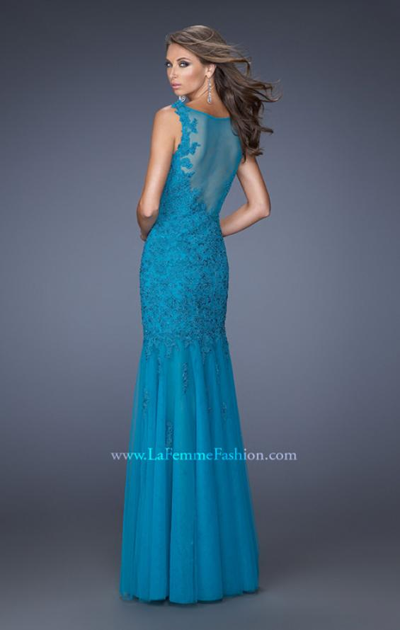 Picture of: Long Mermaid Prom Dress with Lace Applique, Style: 19420, Back Picture