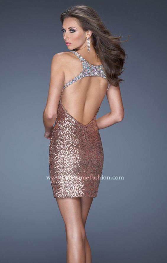 Picture of: Short Sequin Prom Dress and an Open Back in Gold, Style: 19423, Back Picture