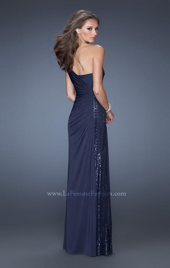 Picture of: One Shoulder Long Prom Dress with Side Sequin Panel in Blue, Style: 19428, Back Picture
