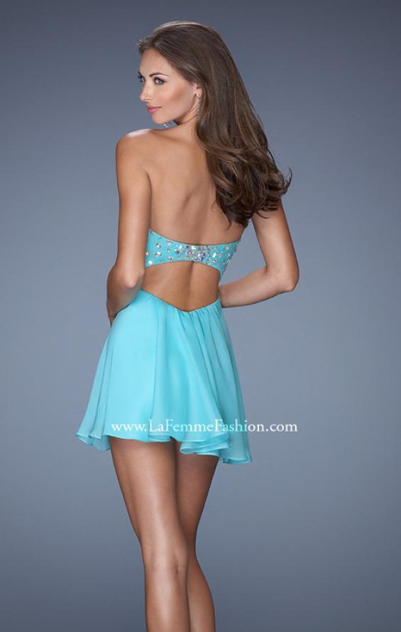 Picture of: Strapless Chiffon Short Prom Dress with Embellished Belt, Style: 19433, Back Picture