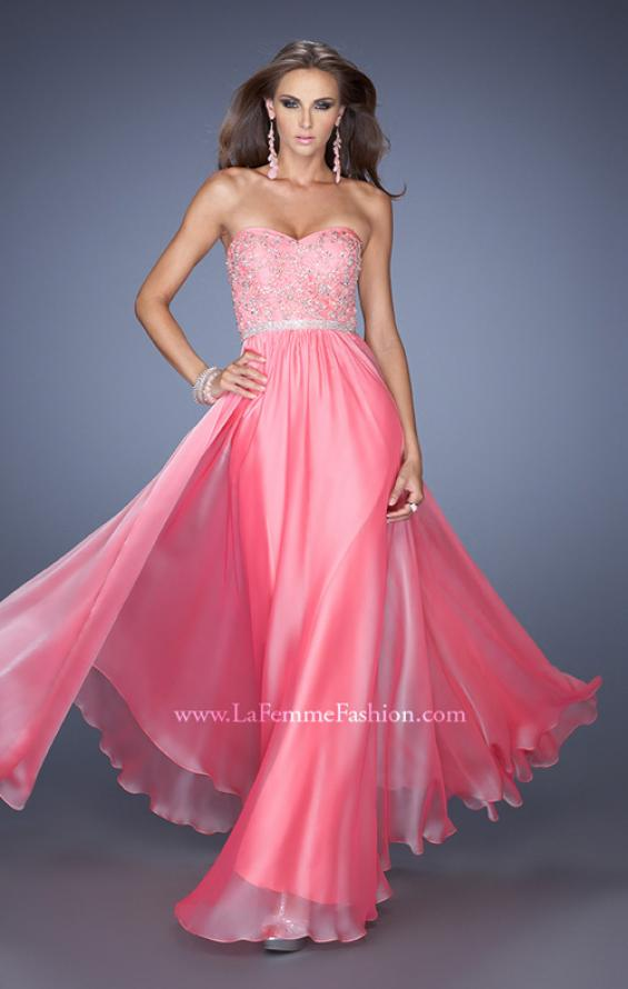 Picture of: Strapless Long Prom Gown with a Lace and Beaded Bodice in Pink, Style: 19437, Main Picture