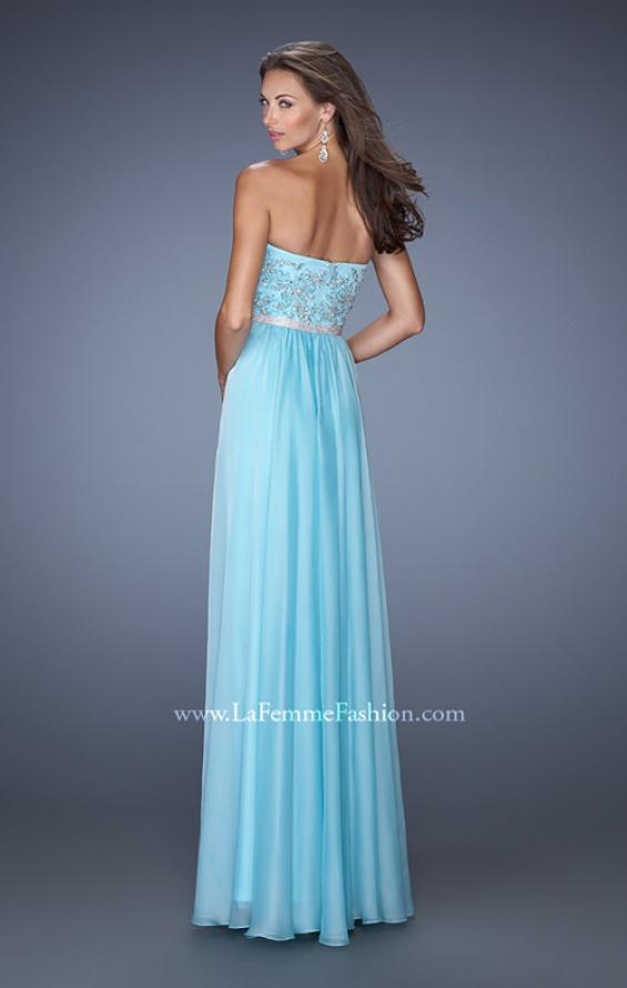 Picture of: Strapless Long Prom Gown with a Lace and Beaded Bodice in Blue, Style: 19437, Back Picture