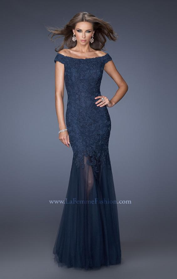 Picture of: Long Off The Shoulder Lace Dress with Mermaid Tulle Skirt, Style: 19440, Main Picture