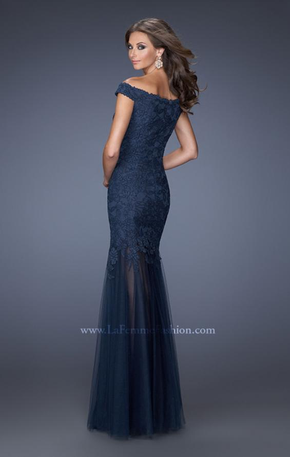 Picture of: Long Off The Shoulder Lace Dress with Mermaid Tulle Skirt, Style: 19440, Back Picture