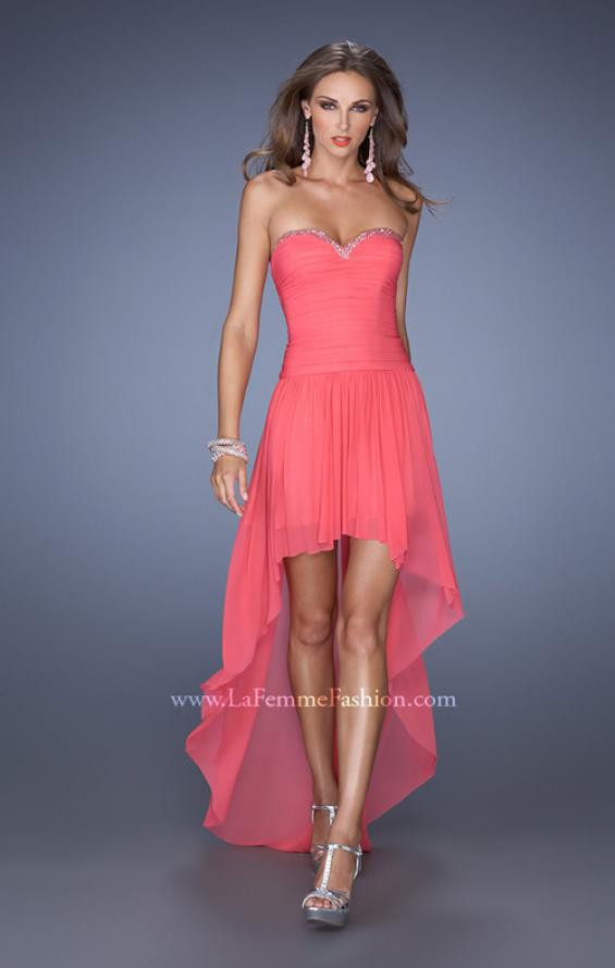 Picture of: High Low Strapless Prom Dress with a Drop Waist in Orange, Style: 19447, Main Picture