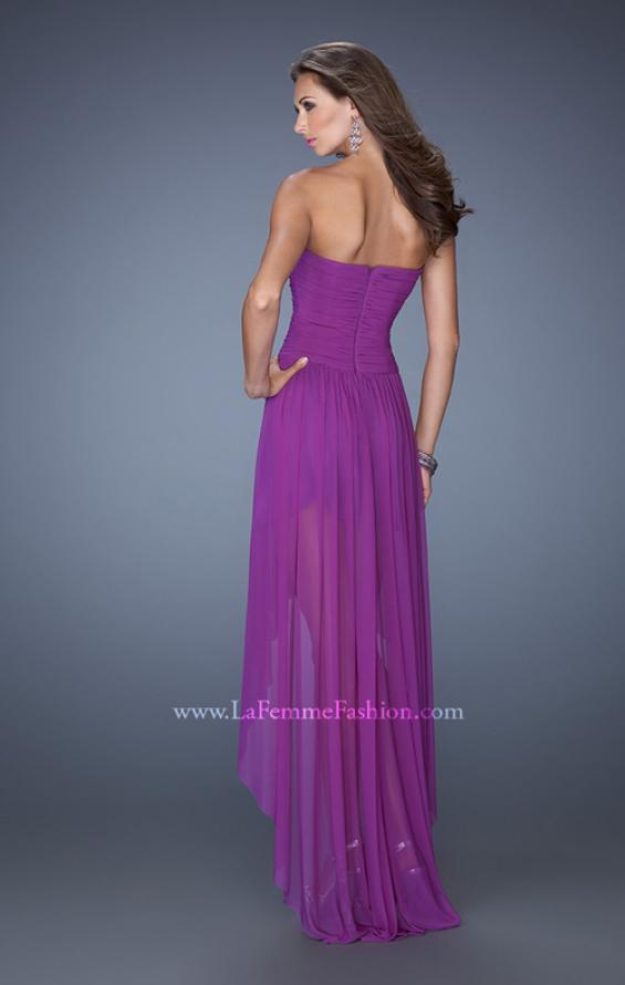 Picture of: High Low Strapless Prom Dress with a Drop Waist in Purple, Style: 19447, Back Picture