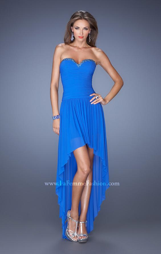 Picture of: High Low Strapless Prom Dress with a Drop Waist in Blue, Style: 19447, Detail Picture 1
