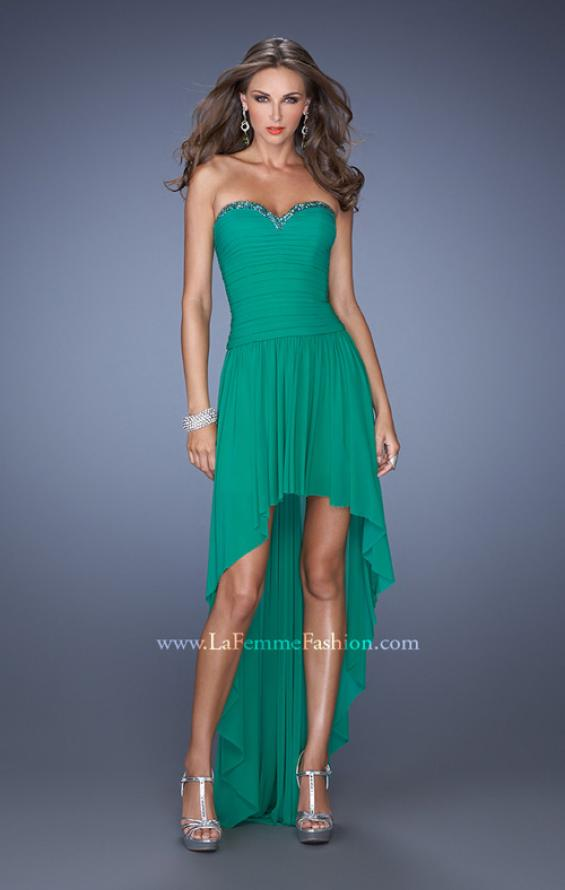 Picture of: High Low Strapless Prom Dress with a Drop Waist in Green, Style: 19447, Detail Picture 2