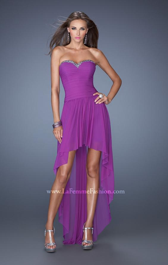 Picture of: High Low Strapless Prom Dress with a Drop Waist in Purple, Style: 19447, Detail Picture 3