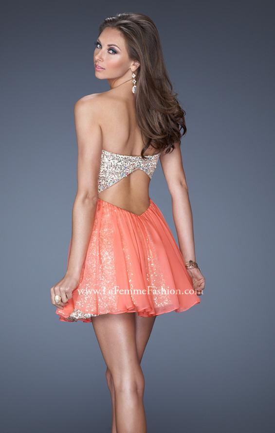 Picture of: Strapless Short Sequin Dress with Chiffon Skirt Overlay, Style: 19452, Back Picture