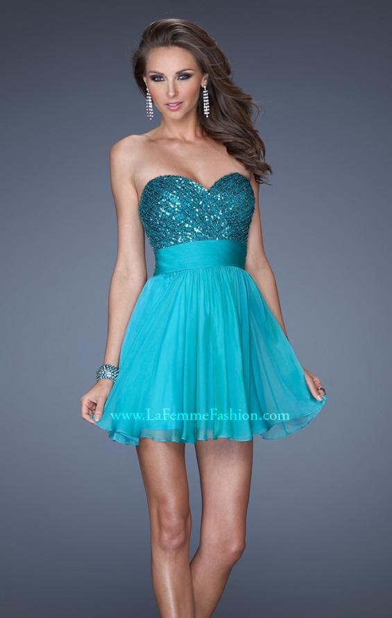 Picture of: Strapless Short Prom Dress with Sequin Bodice, Style: 19453, Main Picture