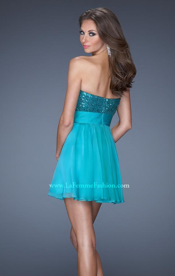 Picture of: Strapless Short Prom Dress with Sequin Bodice, Style: 19453, Back Picture