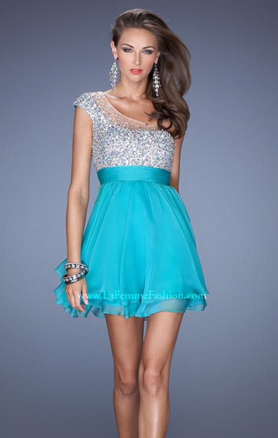 Picture of: One Shoulder Short Prom Dress with Metallic Beaded Bodice in White, Style: 19456, Main Picture