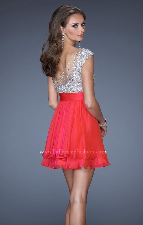 Picture of: One Shoulder Short Prom Dress with Metallic Beaded Bodice in Pink, Style: 19456, Back Picture