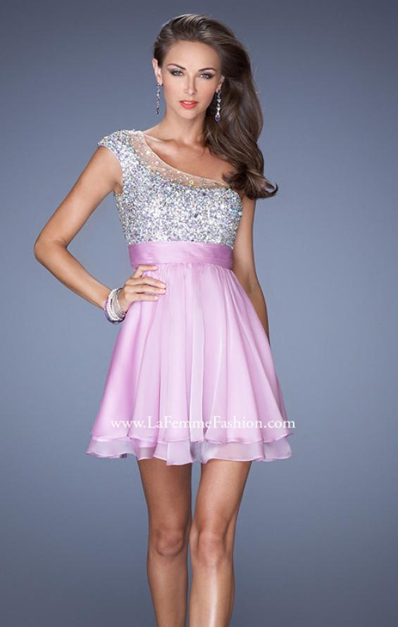 Picture of: One Shoulder Short Prom Dress with Metallic Beaded Bodice in Purple, Style: 19456, Detail Picture 1