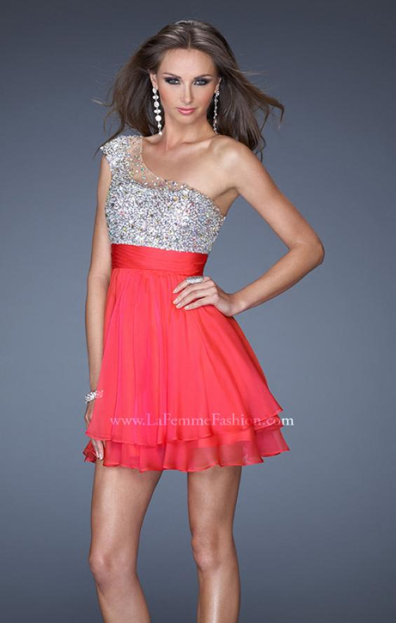 Picture of: One Shoulder Short Prom Dress with Metallic Beaded Bodice in Pink, Style: 19456, Detail Picture 2