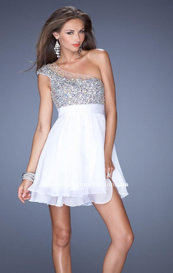 Picture of: One Shoulder Short Prom Dress with Metallic Beaded Bodice in White, Style: 19456, Detail Picture 3