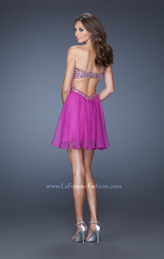 Picture of: Strapless Short Dress with a Ruched Bodice and Beaded Belt in Purple, Style: 19460, Back Picture