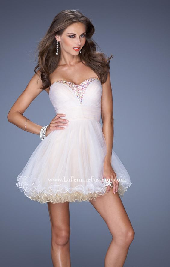 Picture of: Strapless Short Prom Dress with Two Toned Tulle, Style: 19461, Detail Picture 1