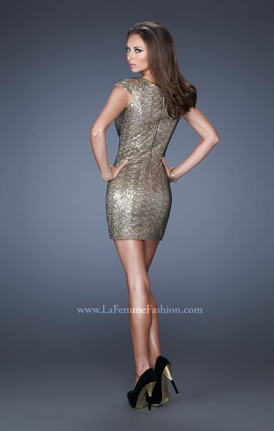 Picture of: Short Sequin Fitted Prom Dress with Cap Sleeves in Gold, Style: 19464, Back Picture