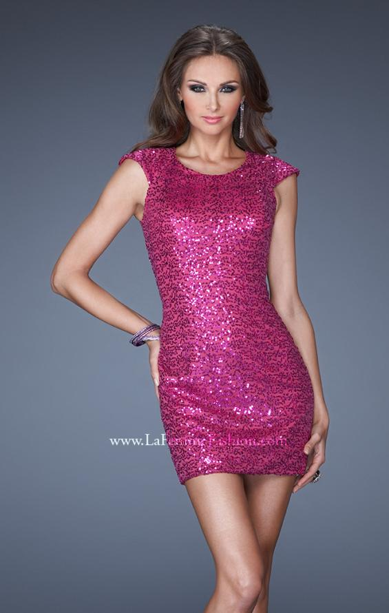 Picture of: Short Sequin Fitted Prom Dress with Cap Sleeves in Pink, Style: 19464, Detail Picture 1