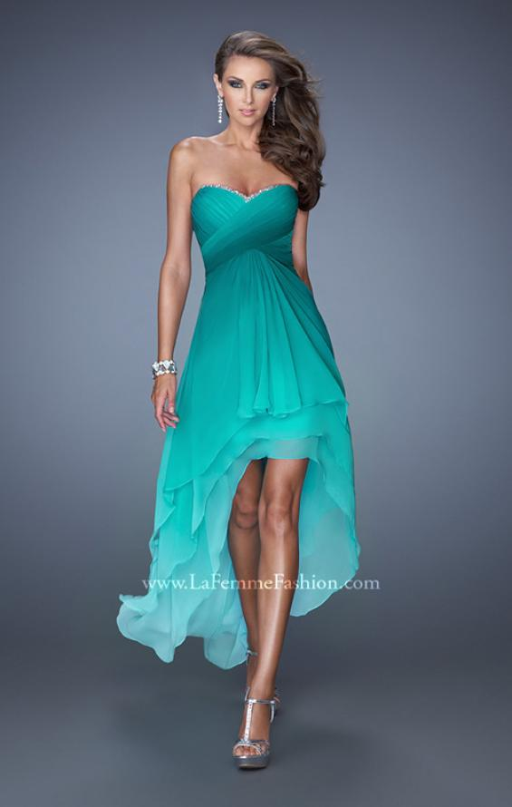 Picture of: High Low Strapless Ombre Prom Dress with Beaded Trimming in Green, Style: 19467, Main Picture