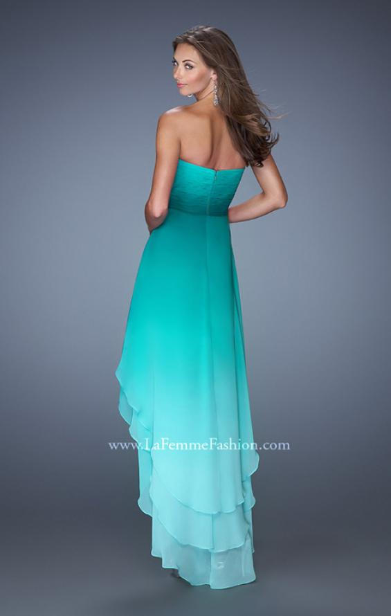 Picture of: High Low Strapless Ombre Prom Dress with Beaded Trimming in Green, Style: 19467, Back Picture