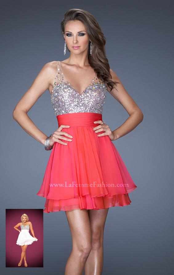 Picture of: Short Prom Dress with Intricately Embellished Bodice in Pink, Style: 19469, Main Picture