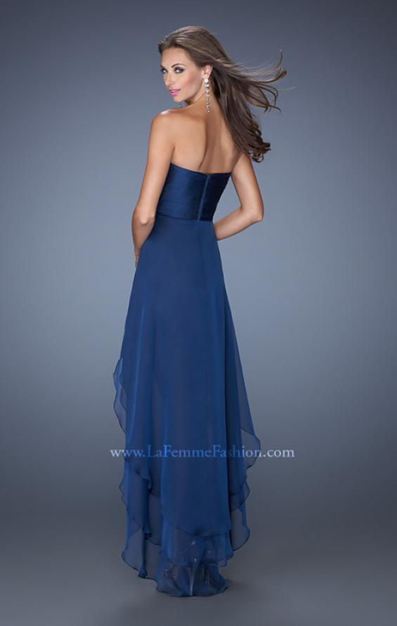 Picture of: Strapless High Low Prom Dress with Tiered Skirt in Blue, Style: 19471, Back Picture