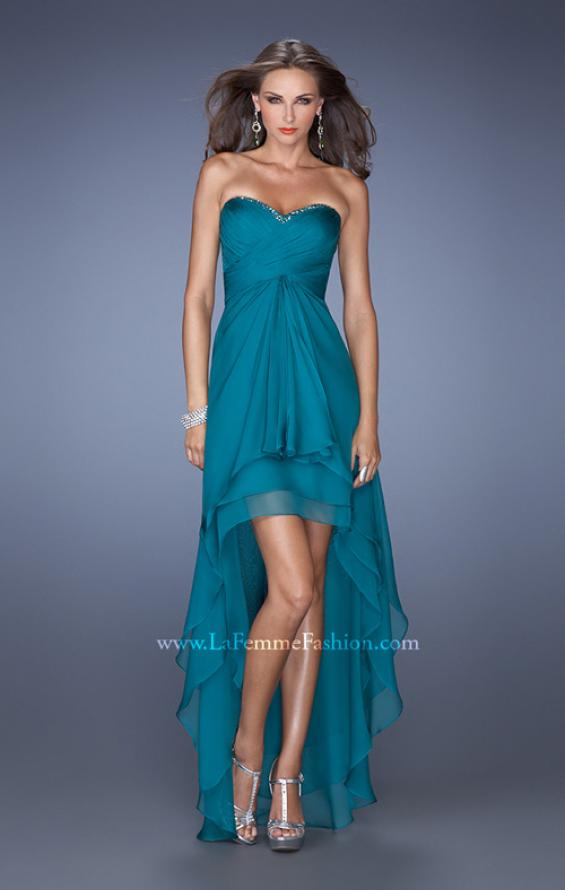 Picture of: Strapless High Low Prom Dress with Tiered Skirt in Green, Style: 19471, Detail Picture 1