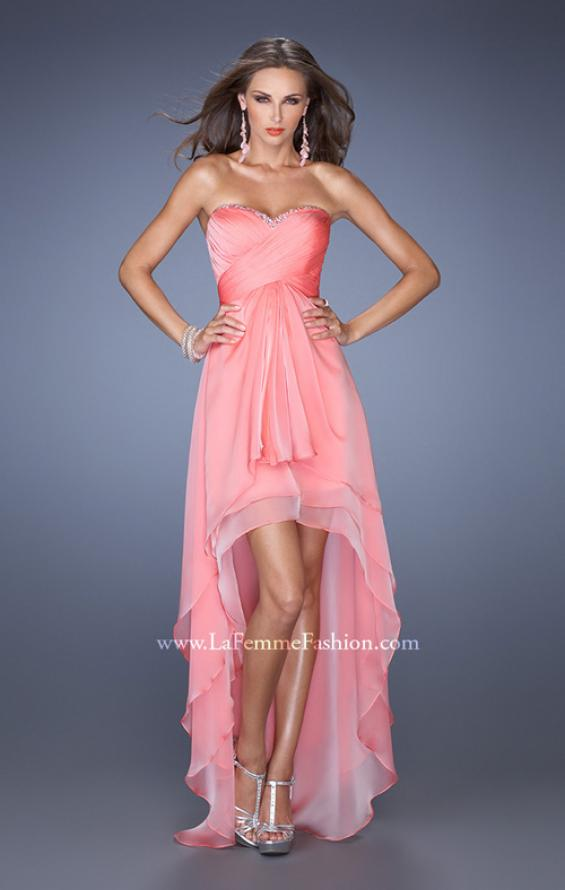 Picture of: Strapless High Low Prom Dress with Tiered Skirt in Orange, Style: 19471, Detail Picture 2