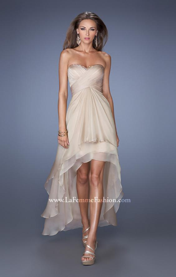Picture of: Strapless High Low Prom Dress with Tiered Skirt in Nude, Style: 19471, Detail Picture 3