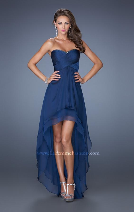 Picture of: Strapless High Low Prom Dress with Tiered Skirt in Blue, Style: 19471, Detail Picture 4