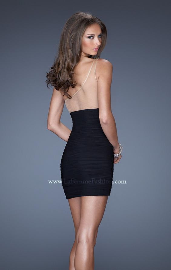 Picture of: One Shoulder Short Fitted Dress with Embellished Bust in Black, Style: 19473, Back Picture