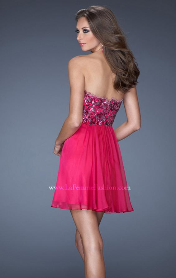 Picture of: Strapless Short Dress with Sequin Lace Bodice, Style: 19477, Back Picture